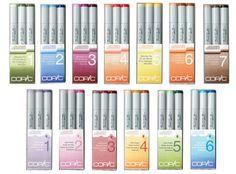 copic marker sets: blending trios (top) & color fusions (bottom) blending1: G40, G94, G99 blending 2: B12, B14, B18 blending 3: RV63, RV66, RV69 blending 4: R12, R14, R17 blending 5: Y00, Y13, Y18 blending 6: E95, E97, E99 blending 7: E70, E74, E79 color fusion 1: V20, V22, V25 color fusion 2: RV000, RV52, RV55  color fusion 3: E04, R56, R59 color fusion 4: YR20, YR23, YR27 color fusion 5: G40, G43, G46 color fusion 6: B01, B04, B06