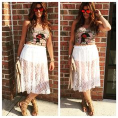 Skull Tank & Lace Skirt  Shop at www.aliciadimichele.com