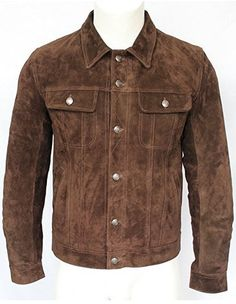 TREND SETTER Mens 1280 Brown Suede Trucker Stylish Classic Casual Shirt Real Leather Jacket .