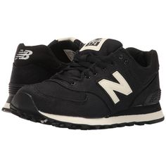 New Balance Classics WL574 (Black/Angora Textile) Women's Lace up... (105 AUD) ❤ liked on Polyvore featuring shoes, athletic shoes, breathable shoes, black athletic shoes, laced up shoes, woven shoes and leather upper shoes