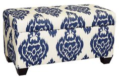 One Kings Lane - Mad for Navy - Hayworth Storage Bench, Sapphire $238
