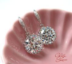 Sparkling Bridal Earrings, Bridesmaids, Clear White Large Cubic Zirconia Crystal, Big Diamond Earrings, by GlitzAndLove, $23.00