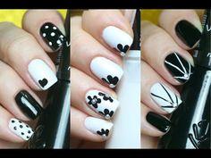 Blog Quase Gêmeas: Três unhas decoradas Preto e Branco fácil de fazer