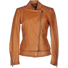 Armani Jeans Jacket ($570) ❤ liked on Polyvore featuring outerwear, jackets, camel, armani jeans, long sleeve jacket, real leather jacket, brown jacket and brown leather jacket