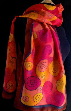 Warm and graceful swirl silk scarf by FantasticPheasant on Etsy, $35.00