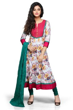 #WHITE AND #RED #COTTON READYMADE #ANARKALI CHURIDAR SUIT