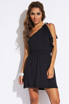 Black One Shoulder Bejeweled Mini Dress