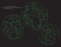 "Quote from the 50th Doctor Who Anniversery Special in Circular Gallifreyan ""Great men are forged in fire. It is the privilege of lesser men to light the flame. Whatever the cost."""