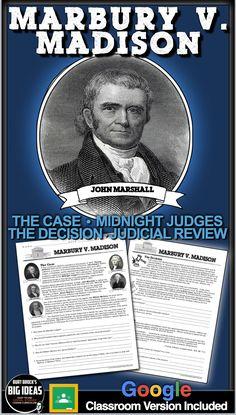 Teaching American History, American History Lessons, Us History, Teaching History, History Lesson Plans, Judicial Review, John Marshall, John Adams, James Madison
