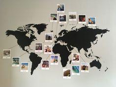 World map with polaroids world map bedroom, world map decor, world map wall World Map Decor, World Map Wall Art, Wall Maps, World Map Bedroom, World Map Design, Room Ideas Bedroom, Bedroom Decor, Ikea Bedroom, Bedroom Furniture