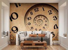 ohpopsi Vintage Infinity Clock Wall Mural in Home, Furniture & DIY, DIY Materials, Wallpaper   eBay