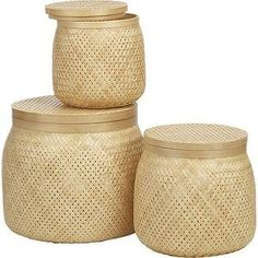 Decor/Accessories - Timaru Baskets Set of Three | Crate and Barrel - woven baskets, natural bamboo baskets, bamboo baskets, bamboo storage baskets, woven bamboo baskets,