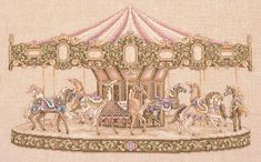 "Teresa Wentzler ""Carousel"" I'm working on this one. Using a different fabric 😀 Cross Stitch Horse, Cross Stitch Boards, Cross Stitch Bookmarks, Cross Stitch Art, Cross Stitching, Cross Stitch Embroidery, Cross Stitch Patterns, Cross Stitch Christmas Stockings, Christmas Stocking Pattern"