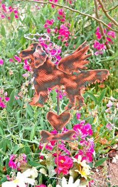 Golden Retriever Metal Yard Art Copper Pet Grave Memorial Marker Garden Stake / Outdoor Angel Dog Sculpture