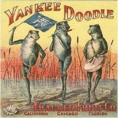 California Yankee Doodle Frogs Orange Citrus Fruit Crate Label Art Print