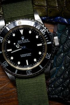 Rolex Submariner with cloth band.
