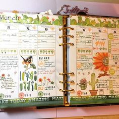 Finished week of 3/21-3/27 with cactus theme on my Kikki K lilac large planner. #planner #planneraddict #kikkik #studiol2e #sweetstampshop #mommylhey #lawnfawn