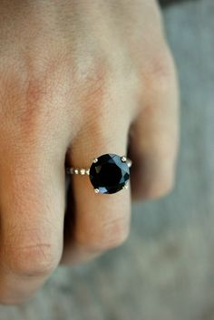 Black Spinel Precious Gemstone and Sterling Silver Solitaire Ring, Cocktail Ring Made in Your Size