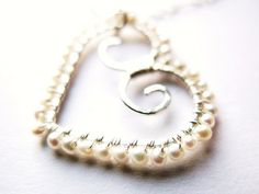 Valentines - Sterling Silver Heart with Freshwater Seed Pearls Necklace