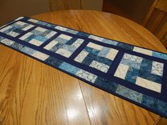 Blue and tan batik table runner, blue table runner, quilted table mat, blue wall hanging, blue dresser scarf, tan blue table runner Item 354