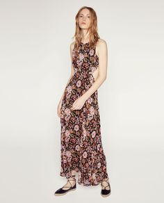 Image 1 of OPEN BACK PRINTED LONG DRESS from Zara