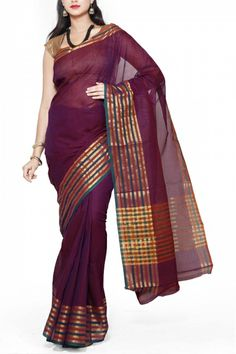 Magenta Dhoop Chaon Cotton Mangalgiri Saree