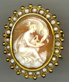 Victorian 18K Carved Shell Cameo Hebe Zeus Pin with Pearls