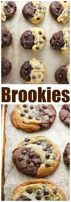 Thick and chewy, these treats are half chocolate chip cookies and half chocolate brownie! to make Brownie Cookies Chocolate Chip Brownie Swirl Cookies (aka Brookies) - Baker by Nature Chocolate Chip Brownies, Chocolate Cookie Recipes, Easy Cookie Recipes, Baking Recipes, Chocolate Cookies, Chocolate Chocolate, Twix Cookies, Pudding Cookies, Healthy Chocolate