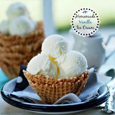Homemade Vanilla Ice Cream - easy, no bake and delicious! www.simplysated.com
