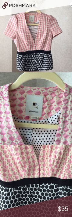 Elevenses /Anthropologie Jacket $27 Adorable short sleeved fitted jacket with pink, cream and black polka dot print and grosgrain ribbon bow and detail. Worn once, excellent condition! Was $35 now $27 Anthropologie Jackets & Coats