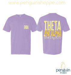 Penguin Shoppe Custom Chapter Order Bid Day design! Theta Phi Alpha Purple Daisy Comfort Colors Pocket T