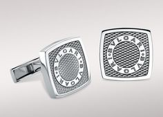 Cufflinks in sterling silver with guilloché engraving....