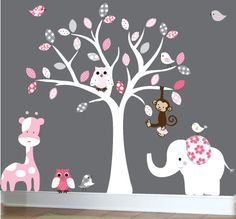 Baby wall decal white tree wall decal - white, pink, gray leaves - pink giraffe wall sticker. $129.00, via Etsy.