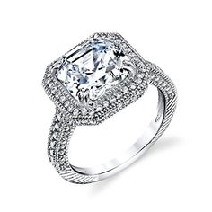 Promise Rings Simple | 925 Sterling Silver CZ Asscher Cut Bridal Wedding Engagement Ring jewelry set with highest quality simulated diamond cubic zirconias SOE004 ** For more information, visit image link.(It is Amazon affiliate link) #instadaily