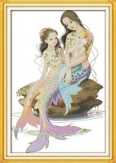 The little mermaid and her mother Embroidery floss Cross Stitch DIY Needlework 14CT 11CT DMC Cross Stitch Kits For Embroidery