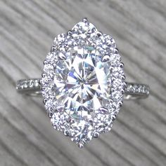 Oval Forever One™ Moissanite Engagement Ring with Diamond Halo + Pavé Band +) Perfect Engagement Ring, Halo Engagement Rings, Halo Rings, Solitaire Rings, Halo Diamond, Diamond Rings, Bracelets, Fine Jewelry, Jewellery