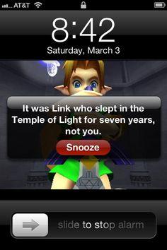 Zelda alarm. Brilliant!