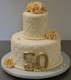 Wedding Anniversary Cake - For all your Golden Anniversary cake decorating… Golden Anniversary Cake, 50th Anniversary Cakes, Anniversary Parties, Anniversary Ideas, Happy Anniversary, 50th Wedding Anniversary Decorations, 50th Cake, Cake Ideas, 50th Birthday