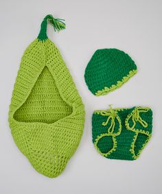 Look at this Adorable Me XO Green Pea Beanie Set - Infant on #zulily today!