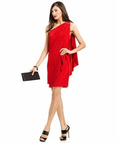 A one shoulder hot red number from Macys