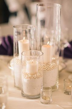 Ivory Wedding Centerpieces | Peal Centerpieces | Romantic Candle Centerpieces | Glass Votives