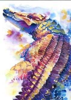 watercolor of a crocodile - Media - Artist Daily Crocodile, Alligator Tattoo, Louisiana Art, Wildlife Art, Painting Inspiration, Watercolor Paintings, Cool Art, Canvas Art, Artsy