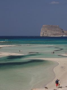 Green sea of Balos Lagoon in Crete #Greece