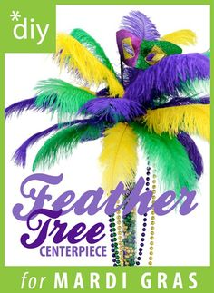 DIY Mardi Gras Feather Tree Centerpiece Party ideas from Mardi Gras Outlet: DIY. - DIY Mardi Gras Feather Tree Centerpiece Party ideas from Mardi Gras Outlet: DIY Mardi Gras Feather - Non Flower Centerpieces, Mardi Gras Centerpieces, Mardi Gras Decorations, Wedding Table Centerpieces, Table Decorations, Mardi Gras Party, Mardi Gras Food, Diy Carnaval, New Orleans