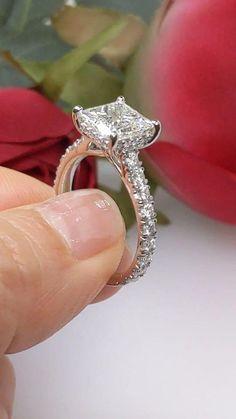 Princess Cut Halo, Princess Cut Engagement Rings, Princess Cut Diamonds, Diamond Engagement Rings, Brilliant Diamond, Diamond Bands, Got Married, White Gold, Trellis