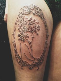 Thinker of Tender Thoughts, Shel Silverstein. Literary framed thigh tattoo.