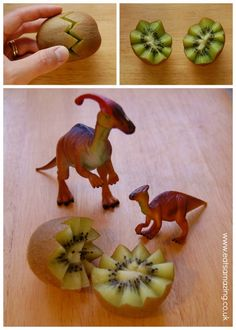 Dinovember kiwi fruit - turn into fun edible dinosaur eggs with this simple cutting trick from Eats Amazing UK
