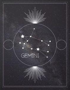 Gemini Zodiac Constellation Art Print by forestvdesigns Taurus And Gemini, Gemini Zodiac, Astrology Tattoo, Astrology Signs, Gemini Wallpaper, Aquarius Constellation Tattoo, Zodiac Characteristics, Aquarius Art, Zodiac Constellations