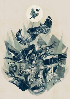 """<h3>How the Birds Chose a King by Chris Valentine</h3><p></p>Chris Valentine is a freelance illustrator and graphic artist based in Johannesburg. His illustrations are mainly created in black and white in a style influenced by video games. His submission for the """"Paper Planes"""" exhibition is an illustration that tells the tale of how the tiny little grass warbler defeated the eagle to become the king of birds.<p></p>"""