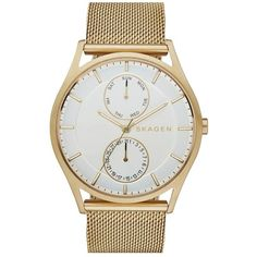 Skagen 'Holst' Multifunction Mesh Strap Watch, 40mm ($185) ❤ liked on Polyvore featuring jewelry, watches, unisex watches, skagen watches, skagen jewelry, dial watches and skagen wrist watch
